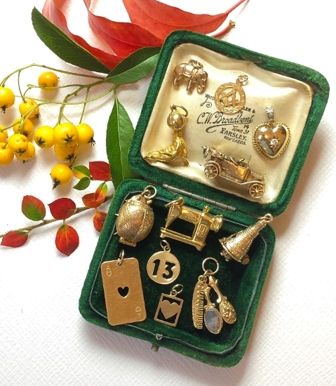 Gold vintage charms